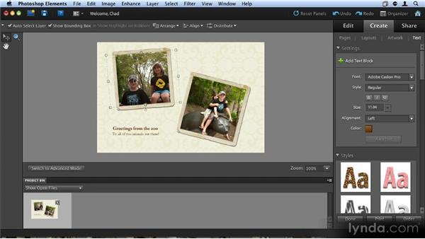 Creating greeting cards: Up and Running with Photoshop Elements 9