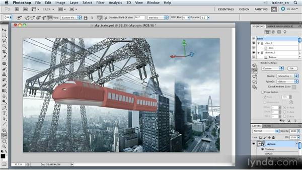 Setting 3D focal length: Photoshop Artist in Action: Uli Staiger's Skytrain