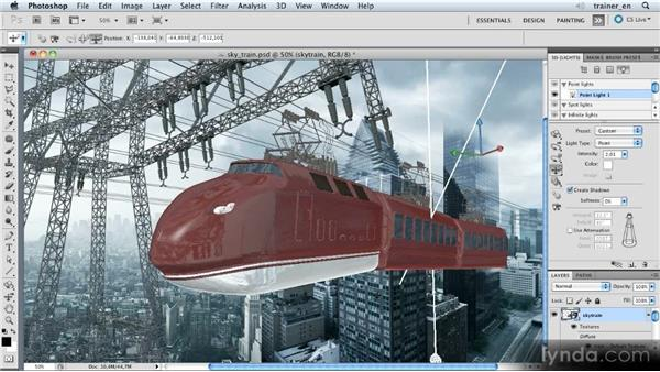 Creating and positioning a point light: Photoshop Artist in Action: Uli Staiger's Skytrain