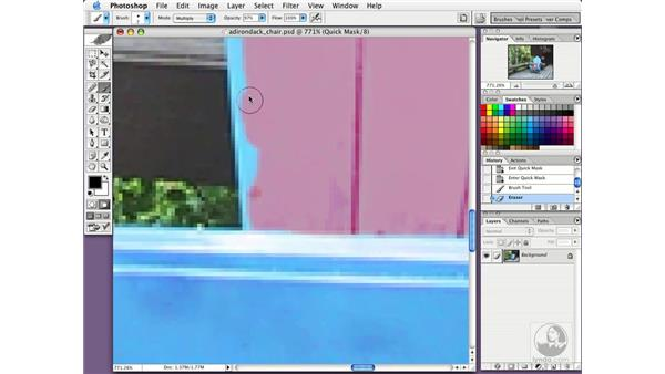paint selections in quick mask mode: Photoshop CS Essential Training