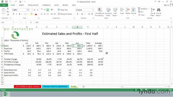 Using the Formula bar: Excel 2013 Essential Training