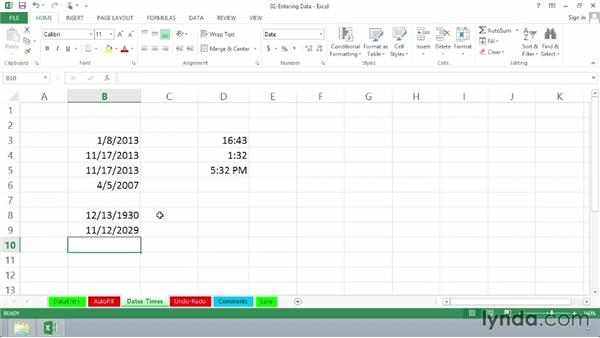 Working with dates and times: Excel 2013 Essential Training