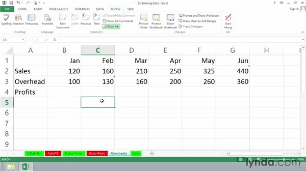 Adding comments: Excel 2013 Essential Training