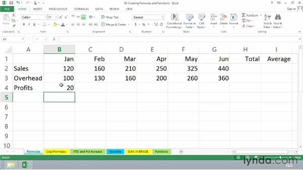 Creating simple formulas: Totals and averages: Excel 2013 Essential Training
