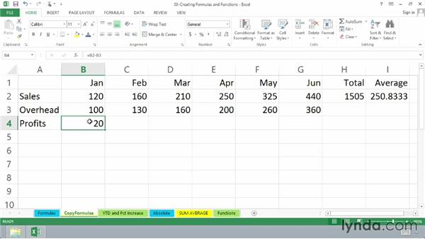 Copying a formula for adjacent cells: Excel 2013 Essential Training