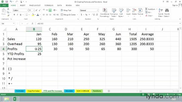 Calculating year-to-date profits: Excel 2013 Essential Training