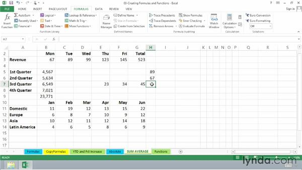 Using SUM and AVERAGE: Excel 2013 Essential Training
