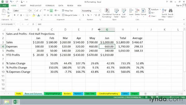 Adjusting row heights and column widths: Excel 2013 Essential Training
