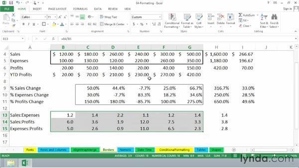 Designing borders: Excel 2013 Essential Training