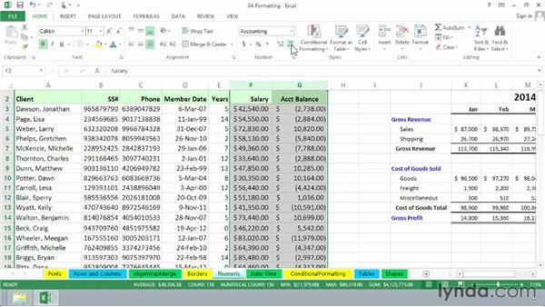 Exploring numeric and special formatting: Excel 2013 Essential Training