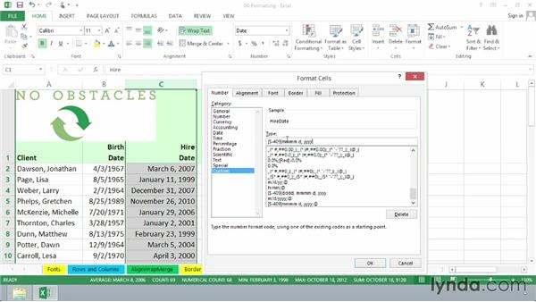 Formatting numbers and dates: Excel 2013 Essential Training