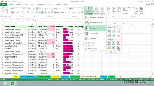 Conditional formatting: Excel 2013 Essential Training