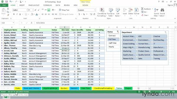 Creating and using tables: Excel 2013 Essential Training