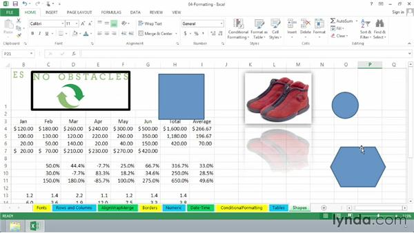 Inserting shapes, arrows, and other visual features: Excel 2013 Essential Training
