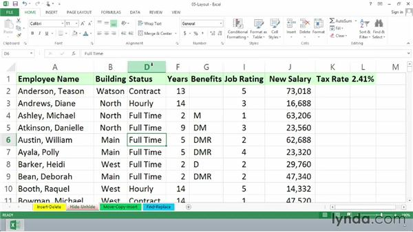 Hiding and unhiding rows and columns: Excel 2013 Essential Training