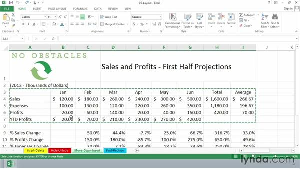 Moving, copying, and inserting data: Excel 2013 Essential Training