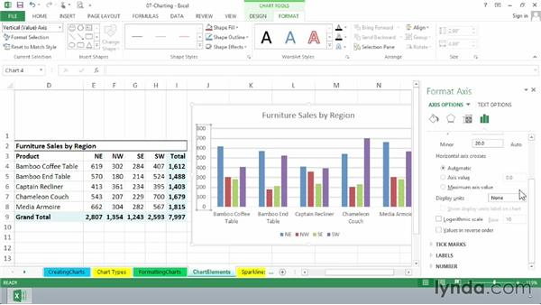 Working with axes, labels, gridlines, and other chart elements: Excel 2013 Essential Training