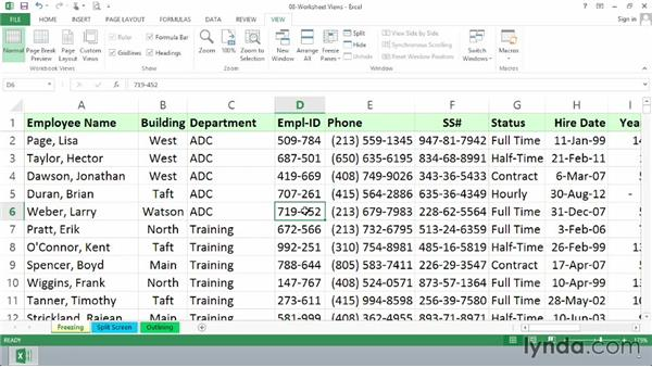 Freezing and unfreezing panes: Excel 2013 Essential Training