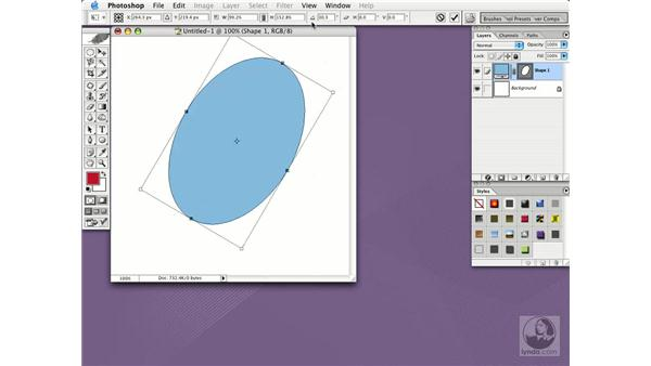 reshape and resize shapes: Photoshop CS Essential Training