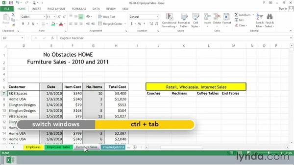 Using formulas to link worksheets and workbooks: Excel 2013 Essential Training