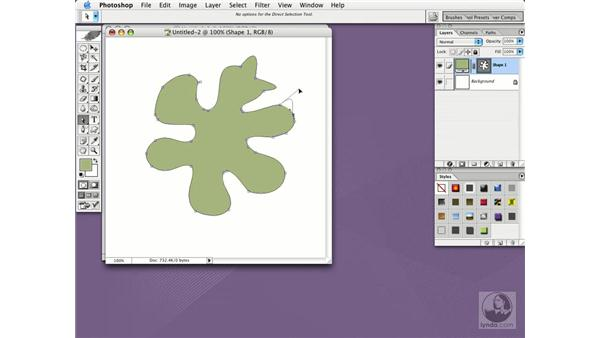 draw shapes with the pen tools: Photoshop CS Essential Training