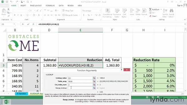 Getting approximate table data with the VLOOKUP function: Excel 2013 Essential Training