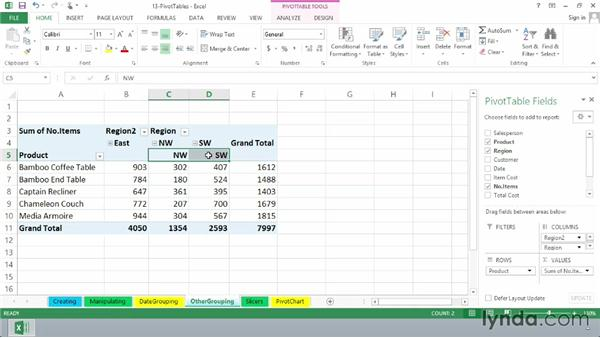 Grouping by other factors: Excel 2013 Essential Training