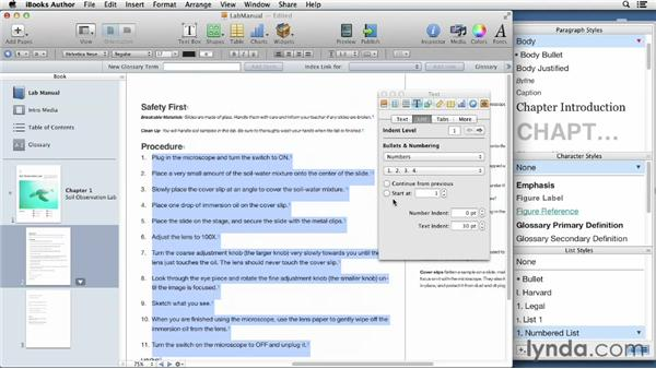 Creating lists: iBooks Author for Teachers: Creating a Lab Manual