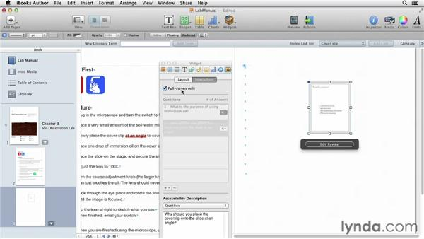 Adding an interactive lab quiz: iBooks Author for Teachers: Creating a Lab Manual