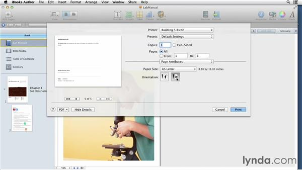 Printing lab results to include in a notebook: iBooks Author for Teachers: Creating a Lab Manual
