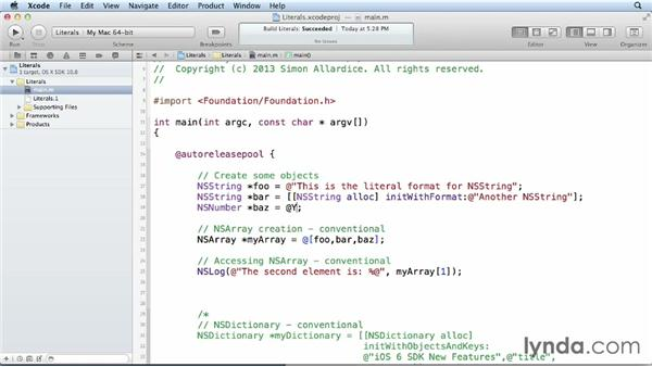 Using Objective-C literals: iOS 6 SDK New Features