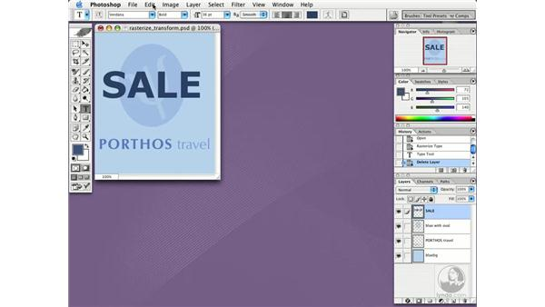 rasterize and transform: Photoshop CS Essential Training