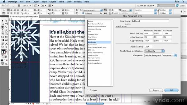 Creating and updating paragraph styles: Up and Running with Styles in InDesign CS5