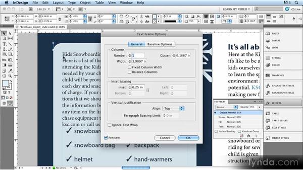 Creating and updating object styles: Up and Running with Styles in InDesign CS5