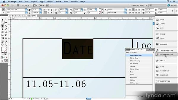 Step one: Creating text styles for a table: Up and Running with Styles in InDesign CS5