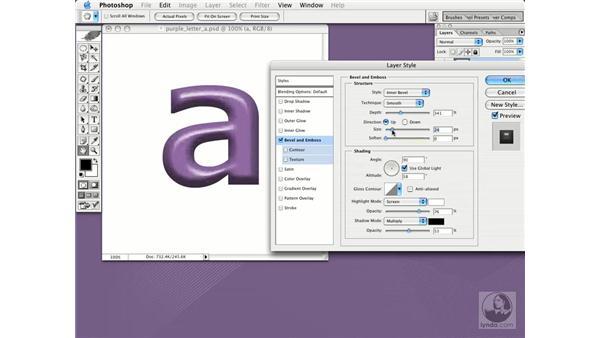 bevel and emboss: Photoshop CS Essential Training