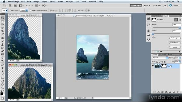 Adding and positioning additional mountains: Photoshop Artist in Action: Uli Staiger's Balloonatic