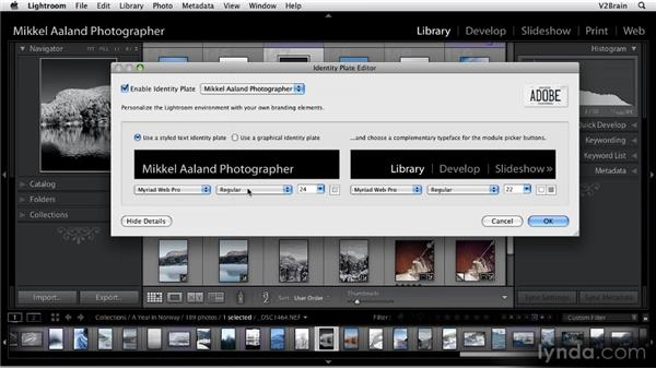 Creating identity plates: Getting Started with Lightroom 2