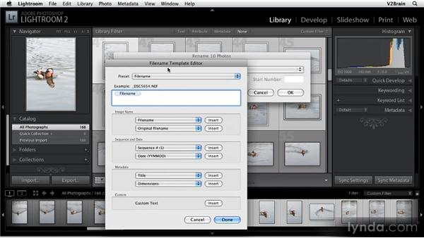 Renaming files: Getting Started with Lightroom 2