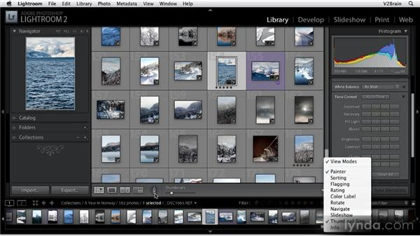 Using the Library module toolbar: Getting Started with Lightroom 2