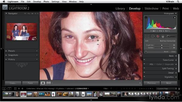 Using the Red Eye Removal tool: Getting Started with Lightroom 2