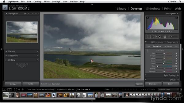 Using the HSL/Color/Grayscale panel: Getting Started with Lightroom 2
