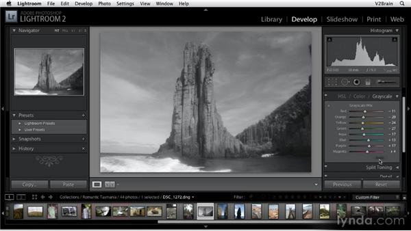 Converting images to black and white: Getting Started with Lightroom 2