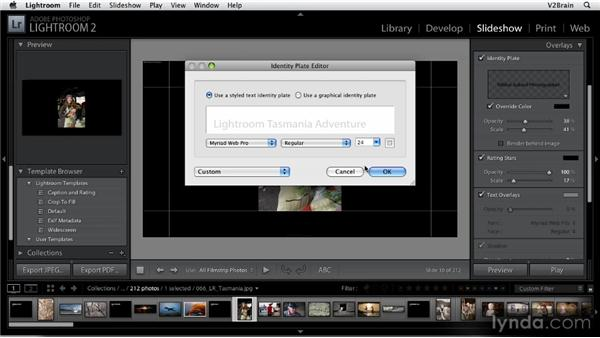 Creating slideshows: Getting Started with Lightroom 2