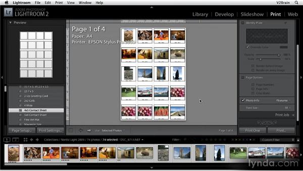 Creating a contact sheet: Getting Started with Lightroom 2