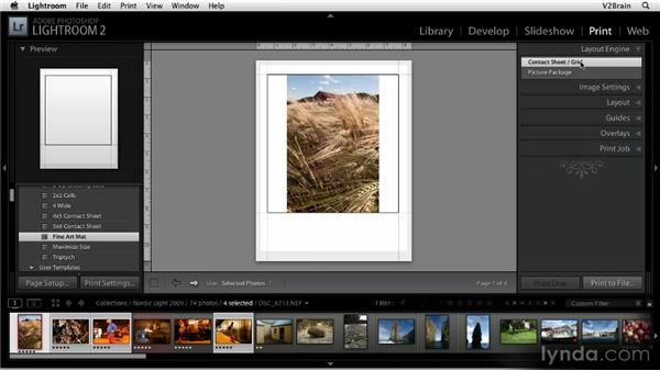Using the Print module engines: Getting Started with Lightroom 2