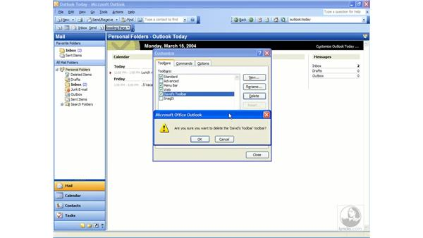 manipulate toolbars: Outlook 2003 Essential Training