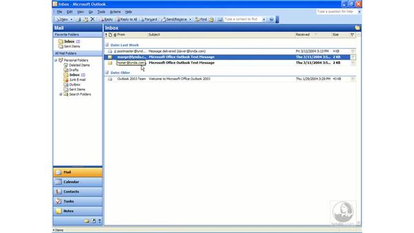 the reading pane: Outlook 2003 Essential Training