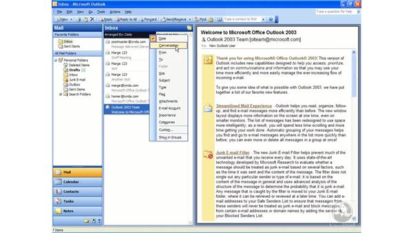 sorting the inbox: Outlook 2003 Essential Training