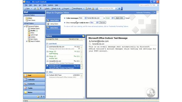 using organize: Outlook 2003 Essential Training